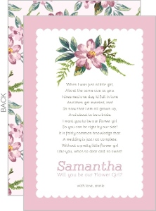 Pink Delicate Flowers Will You Be My Flower Girl Card