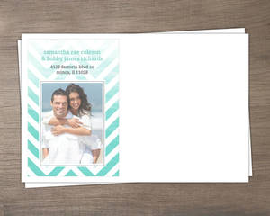 Chevron Turquoise Ombre Photo Custom Envelope