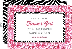 Flower and Zebra Print Will You Be My Flower Girl Card