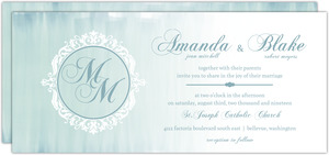 Elegant Ombre Blue Monogram Wedding Invitation