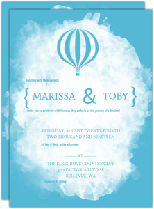 Blue Watercolor Hot Air Balloon Wedding Invitation