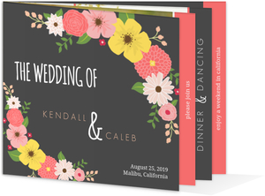 Gray Floral Country Wedding Invitation