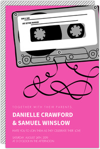 Retro Pink Mixed Tap Wedding Invitation