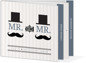 Cream Vintage Mustache Gay Wedding Invitation
