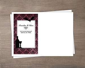 Purple Gothic Damask Halloween Custom Envelope