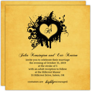 Rustic Yellow Grunge Heart Halloween Wedding Invitation