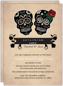 Rustic Skulls Day of the Dead Halloween Wedding Invitation