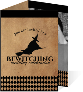 Rustic Black Flying Witch Halloween Wedding Invitation