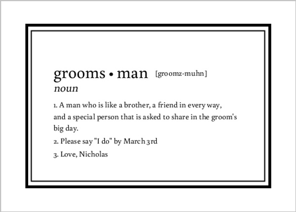 Dictionary definition will you be my groomsman card will you be my dictionary definition will you be my groomsman card stopboris Image collections