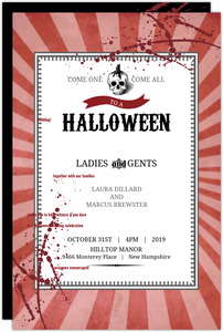 Vintage Red Steampunk Halloween Wedding Invitation