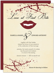 Yellow Rustic Vampire Love Bite Halloween Wedding Invitation