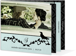 Blue Damask Crow Halloween Wedding Invitation