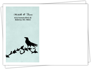 Blue Damask Crow Halloween Custom Envelope