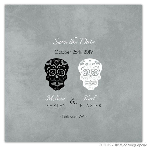 Gray Formal Skulls Halloween Save The Date Save The Date Cards