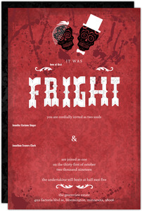 Dia de los Muertos Bride Groom Red Halloween Wedding Invitation