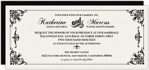 Classic Ecru Black Flourishes Halloween Wedding Invitation