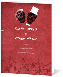 Dia Muertos Bride Groom Red Halloween Wedding Program