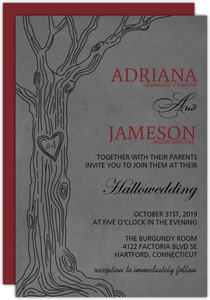 Modern Gray Love Tree Halloween Wedding Invitation