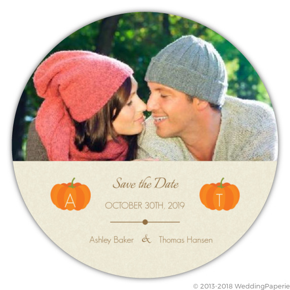 Pumpkin Initials Tan Halloween Save The Date Save The Date Cards
