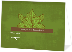 Rustic Green Leaves Wedding Invitation