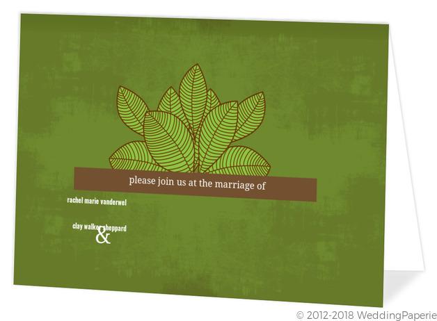 Rustic Green Leaves Wedding Invitation Wedding Invitations