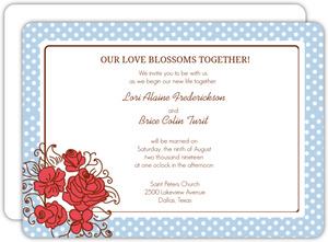 Blue Polka Dot Country Wedding Invite