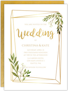 Faux Gold Frame Leaves Gay Wedding Invitation