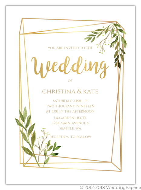 Faux Gold Frame Leaves Gay Wedding Invitation Gay Wedding Invitations