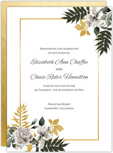 Faux Gold Palm Foliage Wedding Announcement