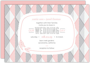 Modern Pink Geometric Pattern Wedding Invitation
