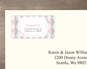 Modern Pink Geometric Pattern Address Label