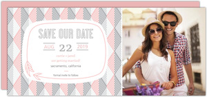 Modern Pink Geometric Pattern Save The Date Announcement