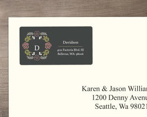 Floral Monogram Bouquet Address Label