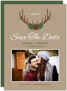 Rustic Woodland Antlers Save The Date Announcement