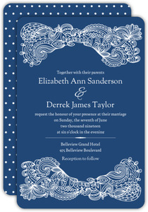 Navy Intricate Lace Frame Wedding Invitation