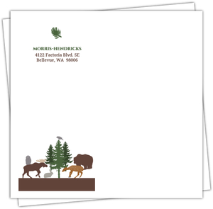 Woodland Animals Woodgrain Custom Envelope