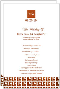 Geometric Rustic Copper Pattern Wedding Program