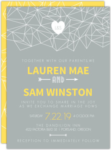 Lemon Gray Triangular Modern Wedding Invitation