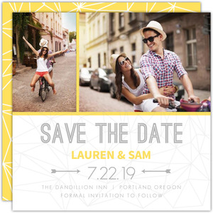 Lemon Gray Triangular Modern Save The Date