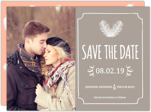 Gray Brown Feathered Modern Save The Date