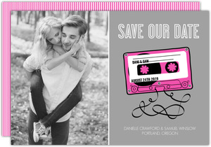 Retro Pink Mixed Tap Save The Date