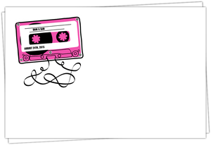 Retro Pink Mixed Tape Custom Envelope