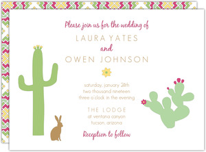 Pink and Green Cacti Wedding Invitation