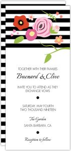 Flowers and Black Stripes Wedding Invitation