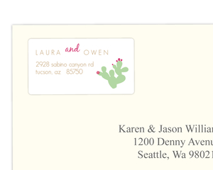 Pink Green Cacti Address Label