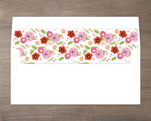 Flowers and Black Stripes Envelope Liner