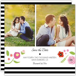 Flowers Black Stripes Save the Date