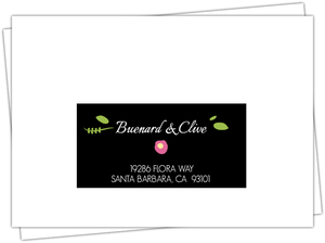 Flowers and Black Stripes Mailing Address Envelope