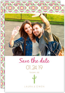 Pink Green Cacti Save the Date