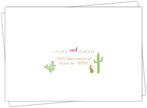 Pink and Green Cacti Mailing Address Envelope